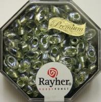 Magatama Perlen 4x7mm gelüstert Rainbow lindgrün