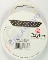 Rayher Satinband mit Punkten 9,5mm dunkelbraun