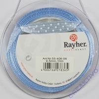 Rayher Satinband mit Punkten 9,5mm hellblau