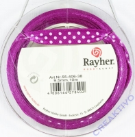 Rayher Satinband mit Punkten 9,5mm rotlila