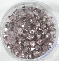 Glasschliffperle light amethyst 4mm halb bedampft