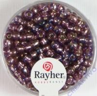 Rocailles mit Silbereinzug+ Rainbow 4mm violett hell