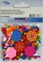 Holzperlen-Mix Blüten bunt 25mm