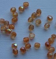 Glasschliffperle 4mm AB bedampft orange 100 Stück (Restbestand)