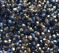 Glasschliffperle 3mm AB bedampft gold/anthrazit100 Stück (Restbestand)