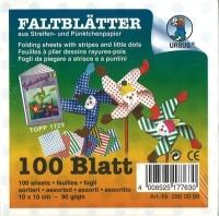 Streifen-Pünktchen-Faltblätter Origamipapier 10x10cm