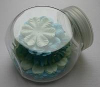 Papier-Blütenmischung 2,5-7cm Blautöne