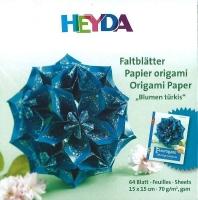 Faltblätter Blumen türkis 15 x 15 cm 64 Blatt 70g/qm (Restbestand)