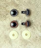 Augen aus Kunststoff 15mm braun 2 Stück