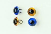 Augen aus Glas mit Öse 10mm saphirblau 2 Stück