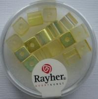 Rayher Glas-Schliffwürfel 6mm 15 St. lichtgelb