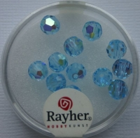 Rayher Rund-Schliffperlen 6mm 12 St. aquamarin