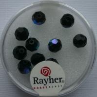 Rayher Rund-Schliffperlen 6mm 12 St. obsidian