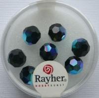 Rayher Rund-Schliffperlen 8mm 8 St. obsidian