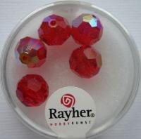 Rayher Rund-Schliffperlen 10mm 5 St. rubin