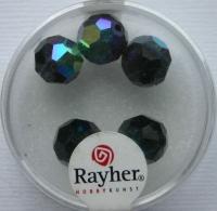 Rayher Rund-Schliffperlen 10mm 5 St. obsidian