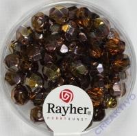 Glas-Schliffperlen, 6 mm ø irisierend nougat