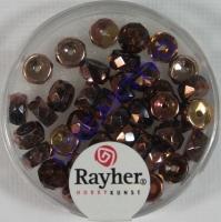 Glas-Schliffperlen, Radl 6x3 mm irisierend nougat