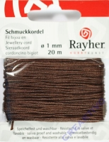 Rayher Schmuckkordel 20m 1mm dunkelbraun