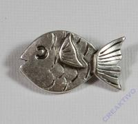 Pracht Metall-Zwischenteil Fisch platin 32x18mm