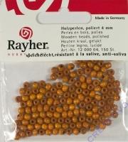 Rayher Holzperlen, poliert 4mm 150St mittelbraun