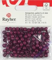 Rayher Holzperlen FSC, poliert 6mm 115St lila