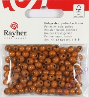 Rayher Holzperlen FSC, poliert 6mm 115St mittelbraun