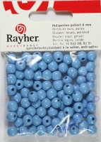 Rayher Holzperlen FSC, poliert 8mm 82St hellblau