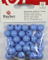 Rayher Holzperlen FSC, poliert 12mm 32St hellblau