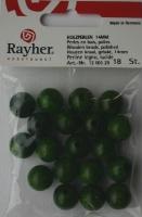 Rayher Holzperlen FSC, poliert 14mm 18St grün