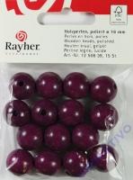 Rayher Holzperlen FSC, poliert 14mm 18St lila