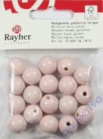 Rayher Holzperlen FSC, poliert 14mm 18St rosé