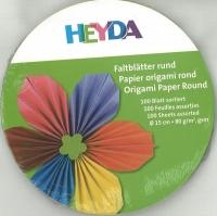 Faltblätter rund 15 cm 100 Blatt farbig sortiert
