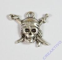 Pracht Metall-Anhänger Pirat platin 18x20mm