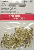 Knorr Dekoklammer Fisch gold 36 x 16 mm 10 Stück (Restbestand)