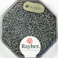 Premium Rocailles mit Silbereinzug 1,5mm silbergrau