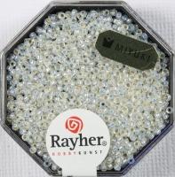 Premium Rocailles mit Silbereinzug 1,5mm weißopal