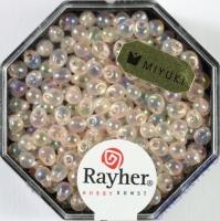 Miyuki-Perle-Drop transparent regenbogen 3,4mm lachsrosa