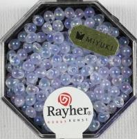 Miyuki-Perle-Drop transparent regenbogen 3,4mm zartlila
