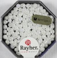 Miyuki-Perle-Drop opak gelüstert 3,4mm weiß