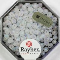 Miyuki-Perle-Drop transparent gefrostet 3,4mm alabasterweiß