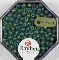 Miyuki-Perle-Drop transparent gefrostet 3,4mm smaragd