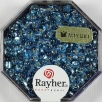 Miyuki-Perle-Drop transparent Silbereinzug 3,4mm aquamarin
