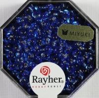 Miyuki-Perle-Drop transparent Silbereinzug 3,4mm royalblau