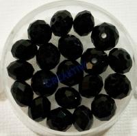 Glasschliffperle 8mm elliptisch 20 Stück schwarz