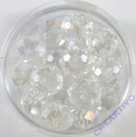 Glasschliffperle 10mm elliptisch 18 Stück cristall AB