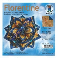 Florentine Faltblätter Paradiso 15x15cm 65 Blatt orange/blau