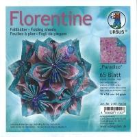 Florentine Faltblätter Paradiso 15x15cm 65 Blatt brombeer/ozeanblau