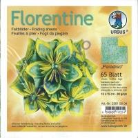 Florentine Faltblätter Paradiso 15x15cm 65 Blatt türkis/gelb
