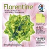 Florentine Faltblätter Pünktchen 15x15cm 65 Blatt gelb/grün